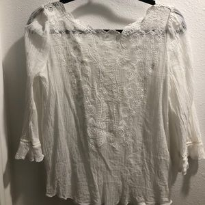 Joie white, sheer, lace blouse